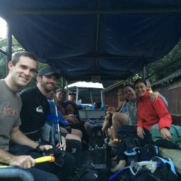 Behind the tractor, on our way to our first dive!
